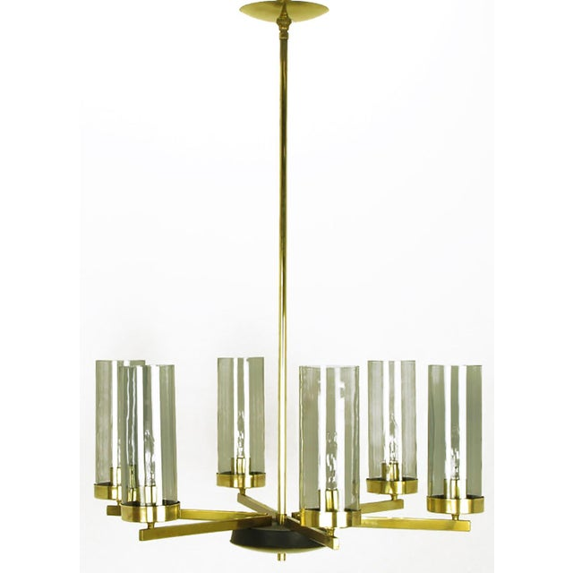 Mid-Century Modern Brass and Black Lacquer Six-Light Chandelier with Hurricane Shades For Sale - Image 3 of 8