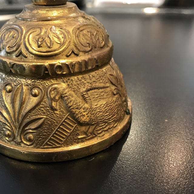 Vintage Brass Bell With Carved Animals - Image 4 of 8
