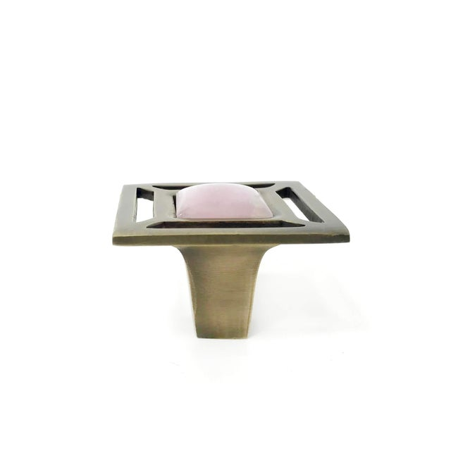 Mid-Century Modern Addison Weeks Evans Knob, Antique Brass & Rose Quartz For Sale - Image 3 of 4