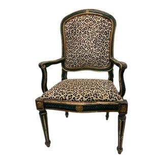 Italian Carved Green and Gilt Frame Chair With Leopard Velvet Upholstery For Sale
