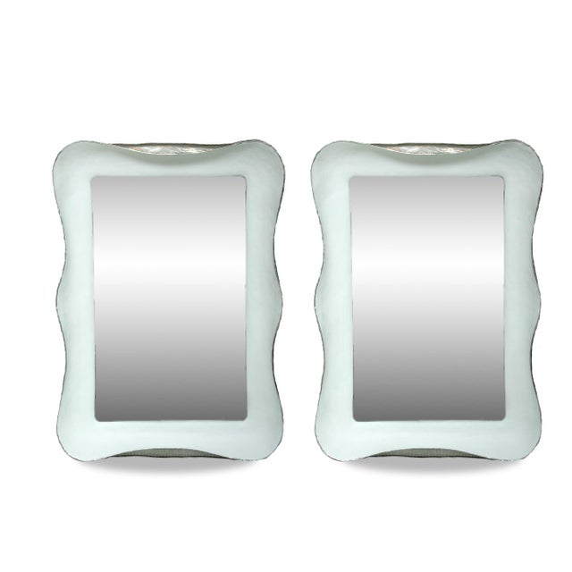 2010s White Plaster Mirrors With Silver Gilt Side Trim- A Pair For Sale - Image 5 of 5