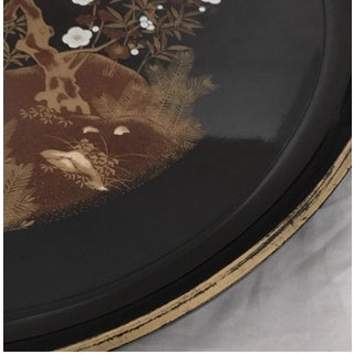Mid Century Japanese Lacquered Black & Gold Serving Tray Preview