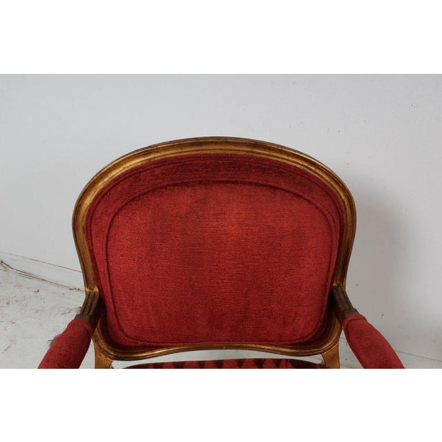 Hollywood Regency Red Velvet Bergere Armchairs Dining Chairs - Set of 4 For Sale - Image 9 of 13