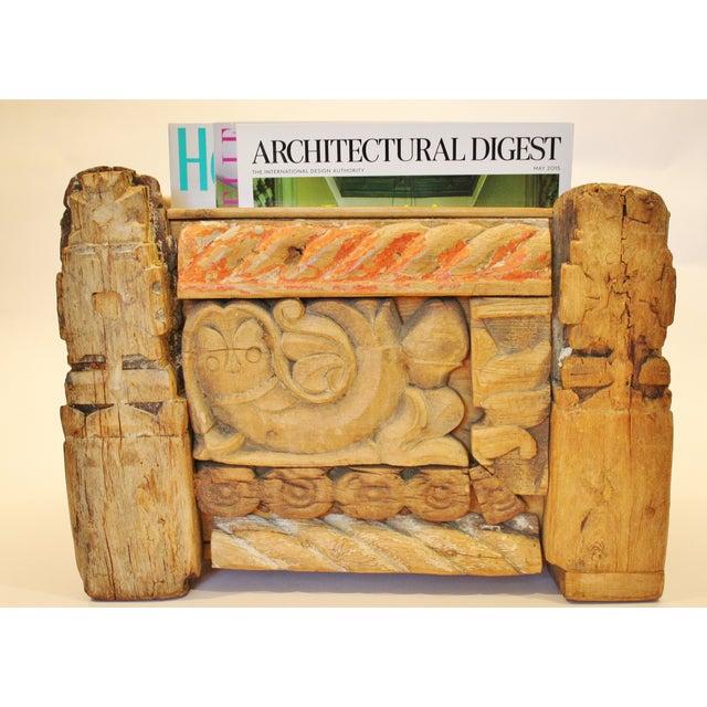 Folk Art Recycled Wood Magazine Rack - Image 5 of 5