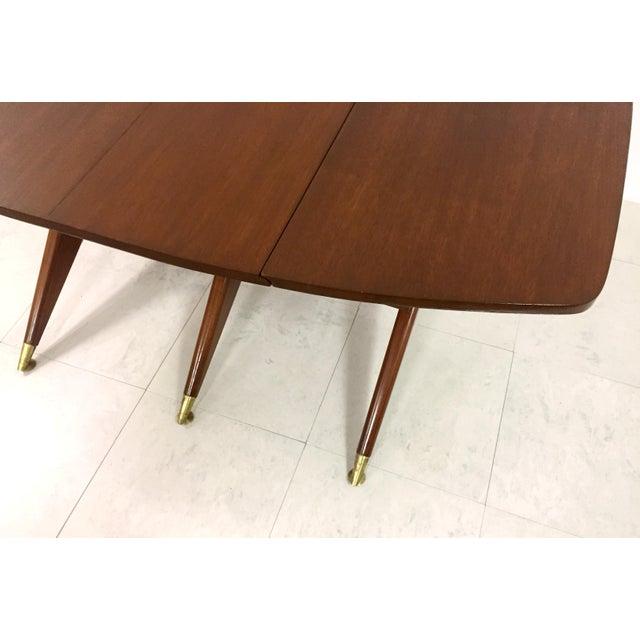 Gio Ponti Attr. Brass & Walnut Dining Table - Image 8 of 11