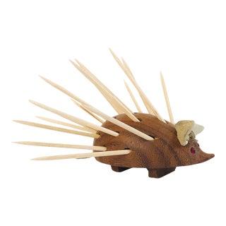 Mid Century Wood Porcupine Toothpick Holder For Sale