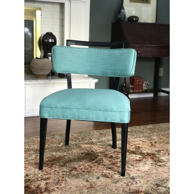 Modern Black Lacquer and Teal Accent Chairs - A Pair For Sale - Image 4 of 13