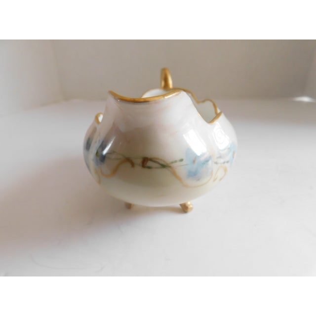 Limoges Hand-Painted Porcelain Footed Creamer/Saucer For Sale In New York - Image 6 of 11