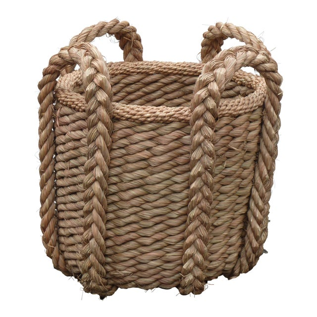 Extra Large Vintage Woven Grass Basket For Sale