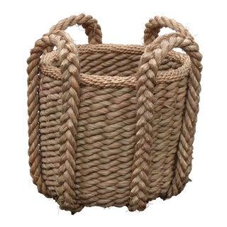 Vintage Woven Grass Basket For Sale