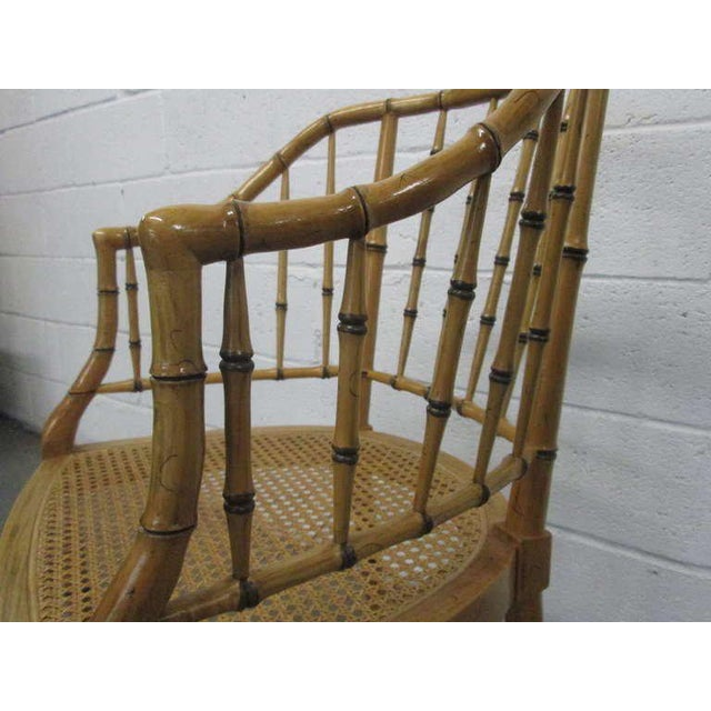 Baker Furniture Company Pair Faux Bamboo Chairs For Sale - Image 4 of 5