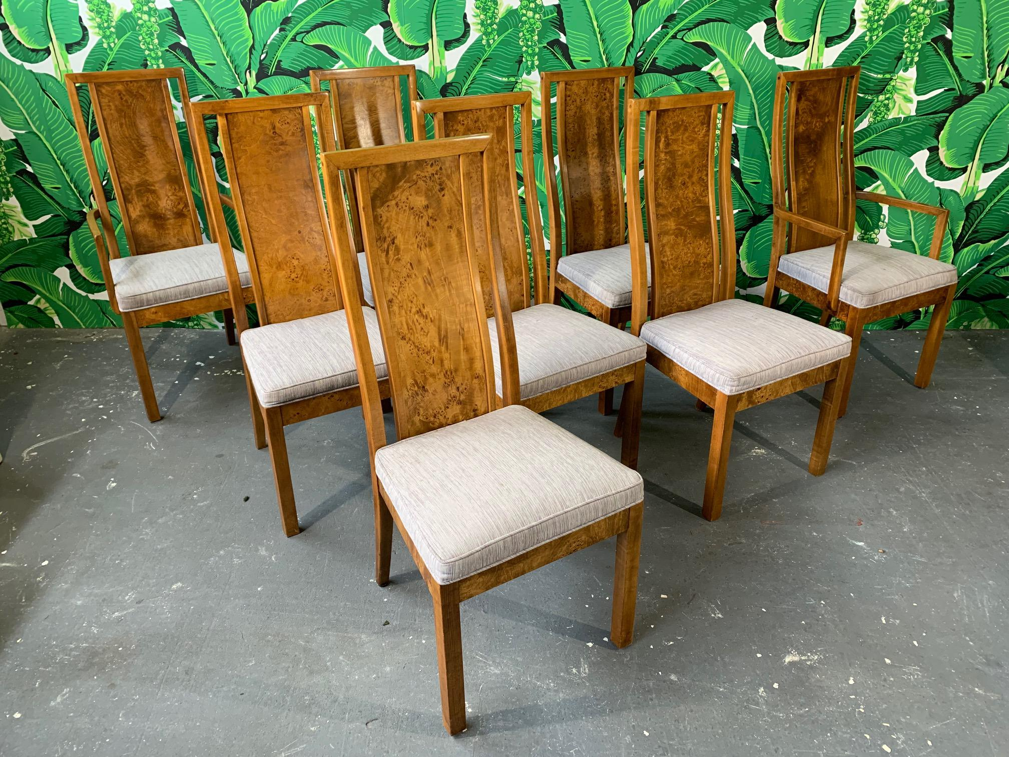burl wood dining chairs by founders furniture in the manner of milo rh chairish com Burl Wood Ideas Exotic Wood Dash Kits
