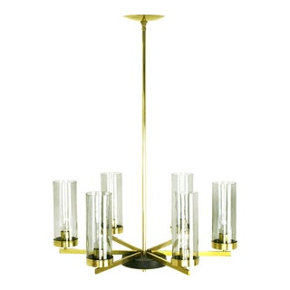 Brass and Black Lacquer Six-Light Chandelier with Hurricane Shades