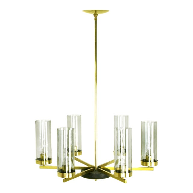 Brass and Black Lacquer Six-Light Chandelier with Hurricane Shades For Sale