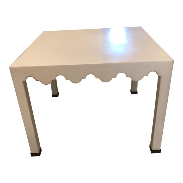 White Lacquered Seagrass Coffee Side Table For Sale