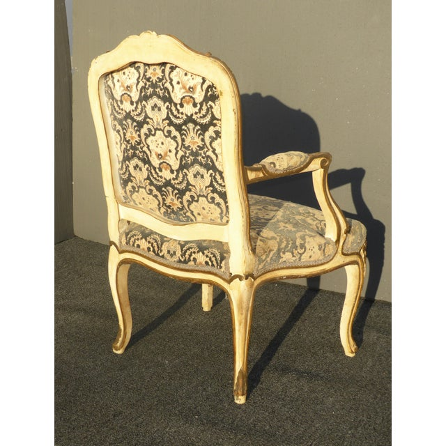 French Provincial Arm Chair With Floral Velvet Upholstery For Sale In Los Angeles - Image 6 of 11
