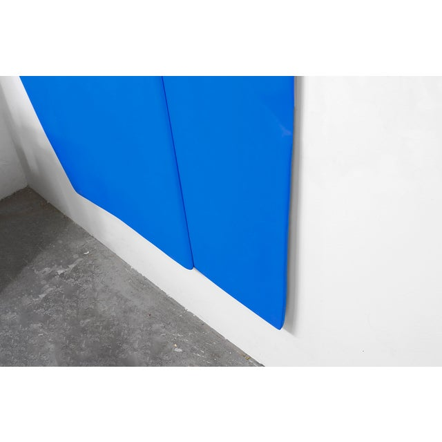 """Contemporary Jaena Kwon """"Bluepoint"""" Minimal Abstract Colorful Acrylic Shapes Artwork in Frame For Sale - Image 3 of 5"""