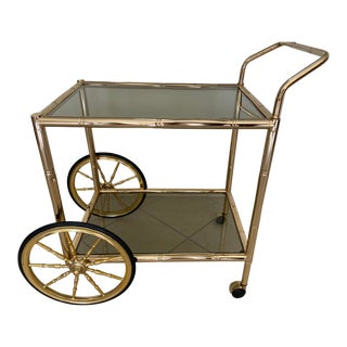 Hollywood Regency Brass Faux Bamboo Bar Cart For Sale
