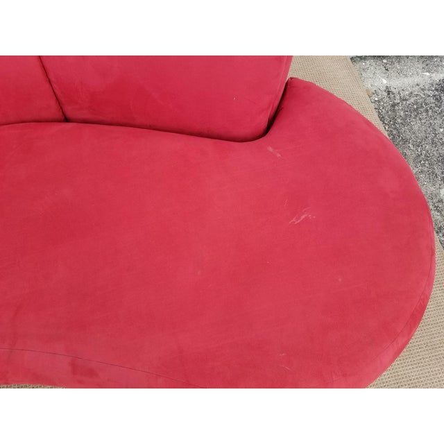 Fabric 1980s Mid-Century Modern Adrian Pearsall for Comfort Red Curved Sofa For Sale - Image 7 of 12