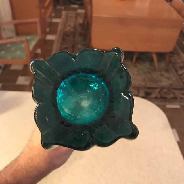 Hand Blown Vintage Art Glass Vase For Sale - Image 10 of 11