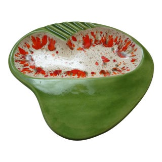 Colorful Mid Century Modern Green Ceramic Ashtray For Sale