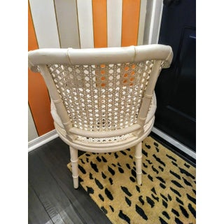 Palm Beach Regency White Cane Fret Work Faux Bamboo Side Chair Preview