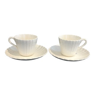 Vintage Copeland Spode Demitasse Cups & Saucers in 'Chelsea Wicker' Pattern - a Pair For Sale
