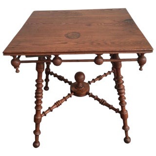 Antique Victorian Arts and Crafts Oak Table For Sale