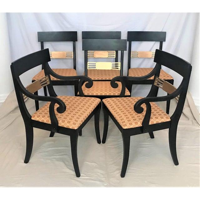 1940s Regency Klismos Parcel Gilt Dining Chairs - Set of 6 For Sale - Image 6 of 7