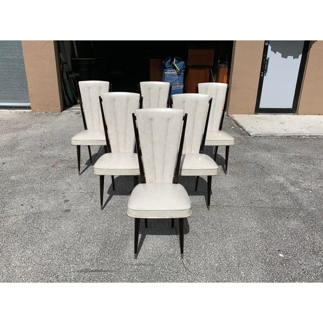 1940s Vintage French Art Deco Solid Mahogany Dining Chairs- Set of 6 For Sale - Image 12 of 12
