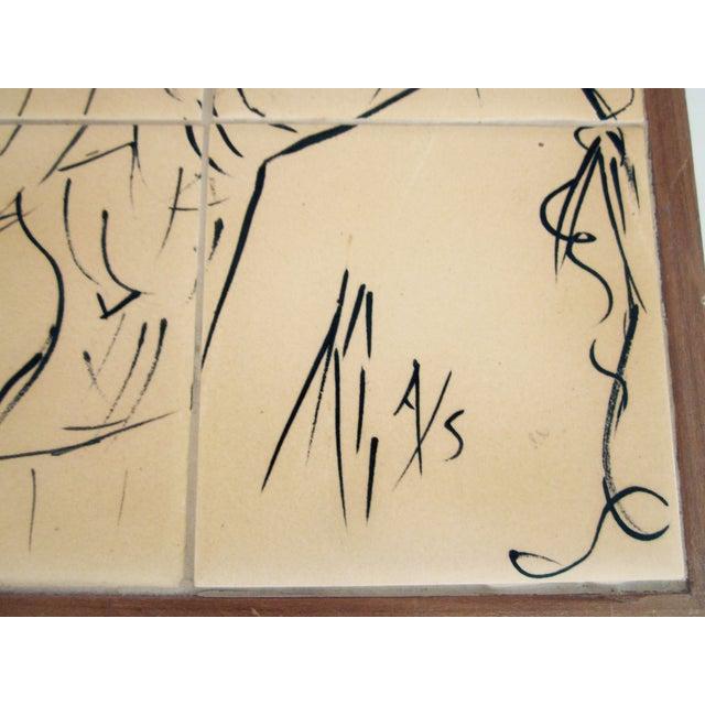 Painted Modernist Nine Tile Signed by Artist Nude - Image 4 of 4