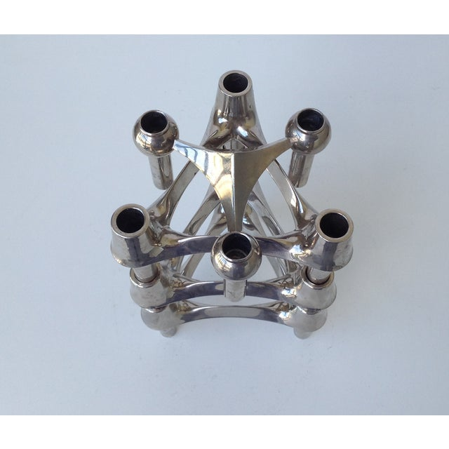 Metal Mid-Cenutry Fritz Nagel & Ceasar Stoffi Chrome-Plated Modular Candleholders - S/4 For Sale - Image 7 of 11