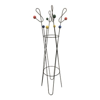 Mid-Century Modern Roger Ferraud Style Metal Coat and Hat Rack