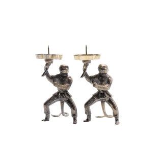 Armored Monkey Japanese Candlestick Holders - a Pair For Sale