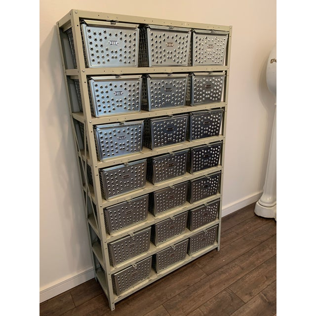 Silver Vintage Industrial Swim and Gym Basket Lockers With Shelving For Sale - Image 8 of 11
