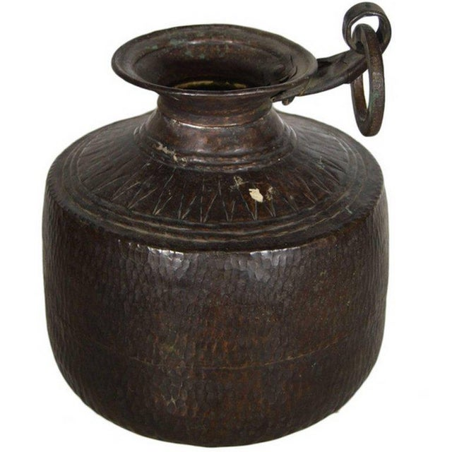 Brown Vintage Indian Hand-Hammered Copper Jug with Carvings, Early 20th Century For Sale - Image 8 of 8