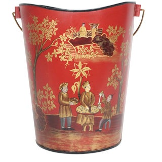 20th Century Chinoiserie Red & Gold Lacquered Tole Handled Tole Bucket For Sale
