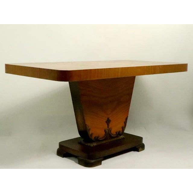 1930s Diminutive English Art Deco Burl Console Table For Sale - Image 5 of 9