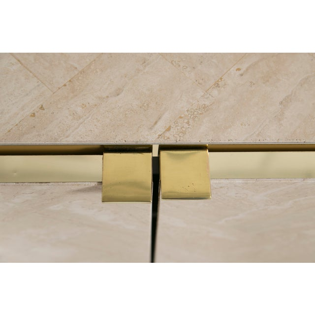 Ello Polished Travertine & Brass Credenza - Image 6 of 10