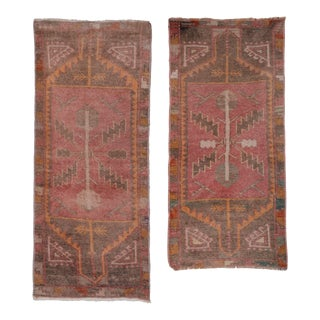 "Pair of Vintage Turkish Oushak Yastik Scatter Rugs - a Pair 1'6"" X 3'8"" For Sale"