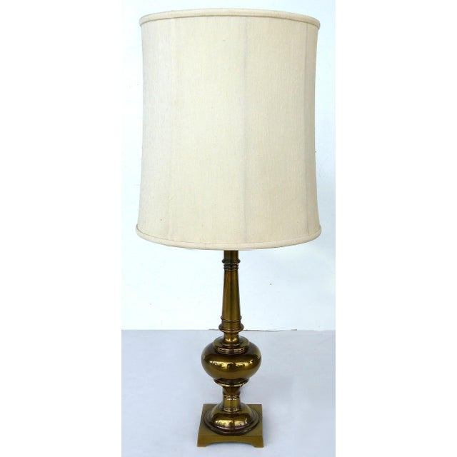 Stiffel Brass Table Lamps with Original Stiffel Shades - a Pair For Sale - Image 9 of 10