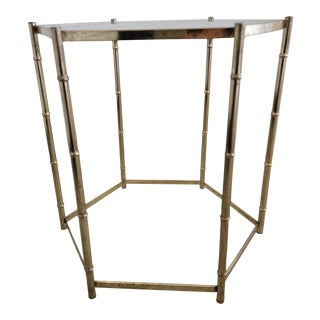 1970s Hexagonal Bamboo Style Side Table For Sale