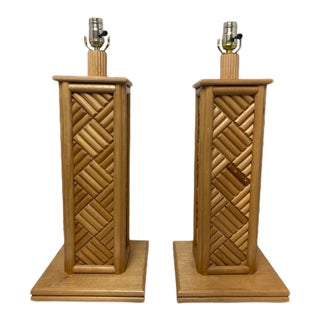 Vintage 1970's Bamboo Table Lamps - a Pair For Sale