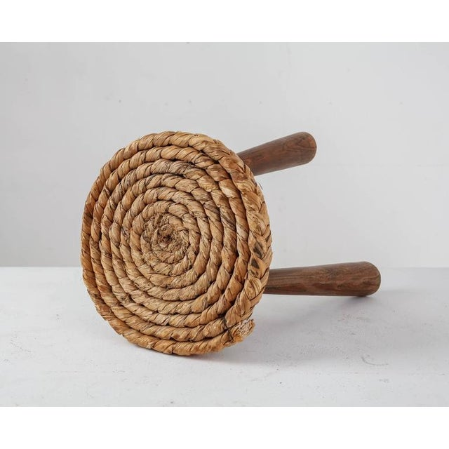 Modern French Campagne Style Wood and Rope Tripod Stool, 1950s For Sale - Image 3 of 8