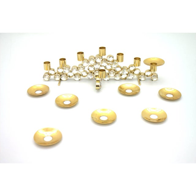 Mid-Century Modern Set of Three Crystal and Gilded Candleholder by Palwa Germany, 1960s For Sale - Image 3 of 4