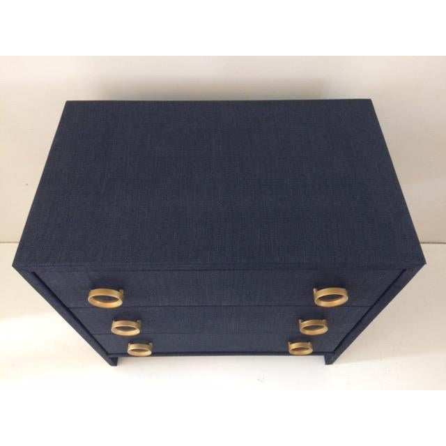 Todd Hase Contemporary Todd Hase Three Drawer Burlap Wrapped Chest For Sale - Image 4 of 13