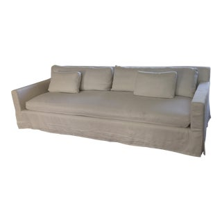 Restoration Hardware Belgian Off-White Linen Track Arm Sofa