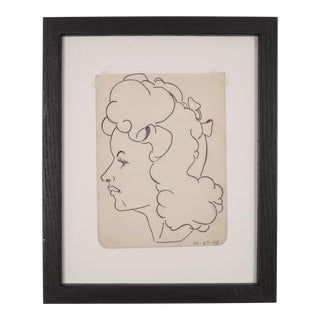 World War Era Sketched Profile of Woman by J. Thomas C.1943 For Sale