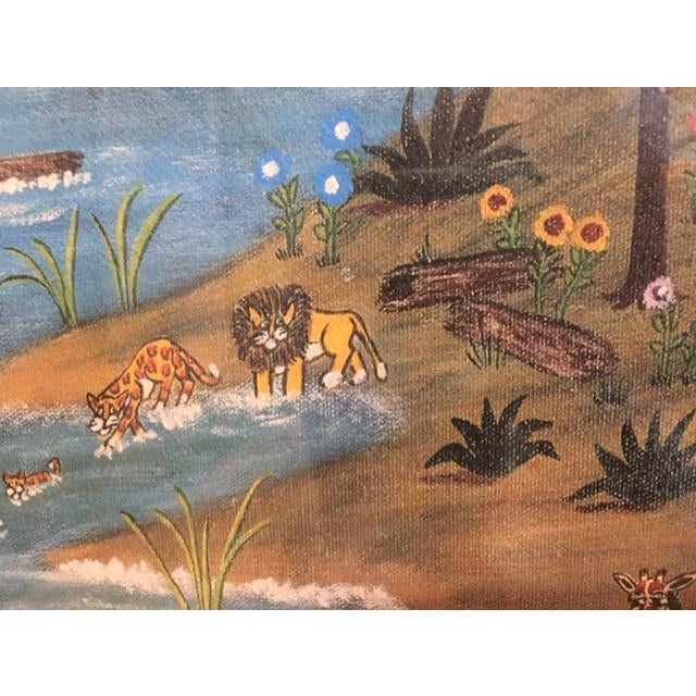 """Wood 1960s Vintage Mike Falco """"Lazy Afternoon"""" Folk Art Signed Artist Proof Serigraph on Canvas For Sale - Image 7 of 12"""