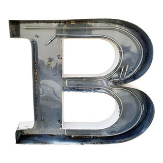 Jumbo Mid Century Channel Letter B Architectural Salvage Wall Sign For Sale